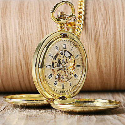 Double Hunter Gold Smooth Roman Numerals Mechanical Hand Wind Men Pocket Watch