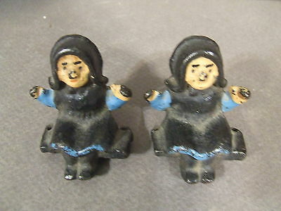 Vintage Hand Painted Cast Iron Amish Girl/women Sitting Figurines