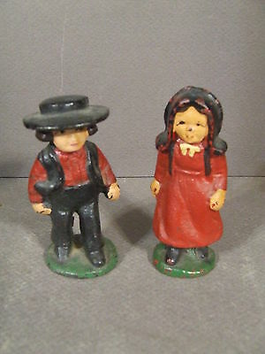 Vintage Hand Painted Cast Iron Amish Boy & Girl Figurines