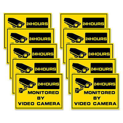 10 HOME Security-24hr SURVEILLANCE System Warning Security Signs-Window Stickers