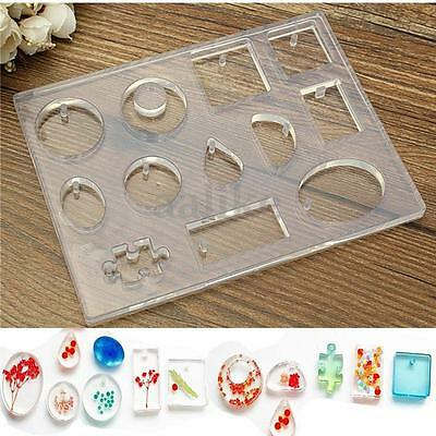 12 Designs Silicone Transparent Mould Mold Resin Pendant Jewelry DIY Craft Tool