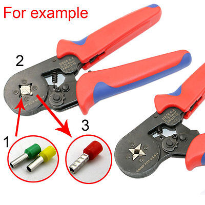 Self-adjustable Insulated Terminals Ferrules Plier Ratcheting Double Crimper #U