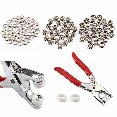 100pcs Prong Pliers Ring Press Studs Snap Popper Fasteners 9.5mm DIY Tool Kit