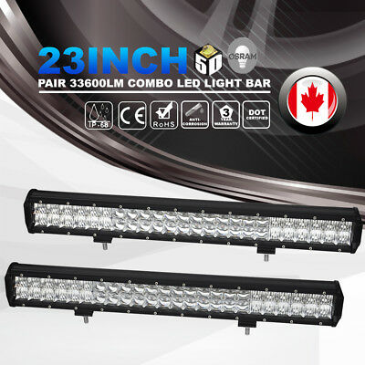 Pair 5D 23Inch Osram 33600LM Led Light Bar Combo Beam Offroad Driving 4WD Lamp
