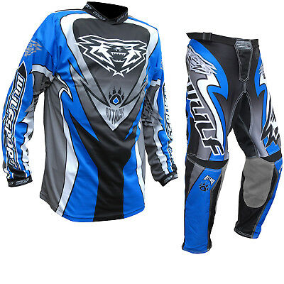Wulf Attack Cub MX Jersey & Pants Blue Junior Motocross Kit Off Road Enduro Dirt