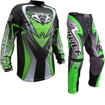 Wulf Attack Cub Motocross Off Road MX Jersey & Pants Green Kit Enduro GhostBikes
