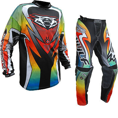 Wulf Attack Adult Off Road MX Jersey & Pants Multicoloured Kit Motocross Enduro
