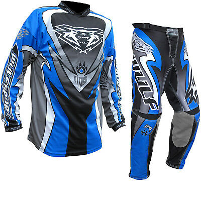 Wulf Attack Adult Enduro Motocross Jersey & Pants Blue Kit MX Dirt GhostBikes
