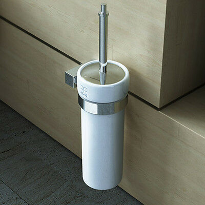 Wall Mounted Chrome Toilet Brush And Holder Set Stainless Steel Fixings MMA707