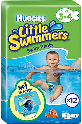 Huggies Little Swimmers Swim Pants Size 3-4 Small 7-15kg (12) FREE UK DELIVERY