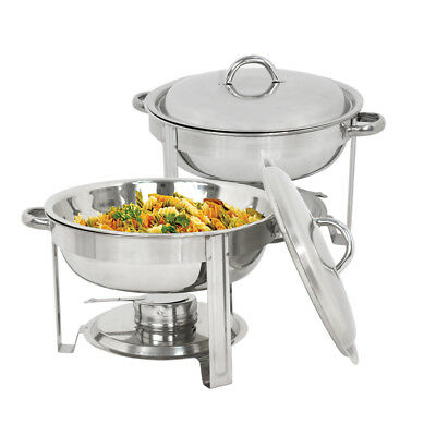 New Stainless Steel Chafer 2 Pack Round Chafing Dish Sets 5 QT Dinner Serving