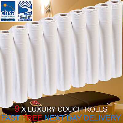 LUXURY White 20 inch Couch Roll Hygiene Roll - 40 Metres 9 Rolls