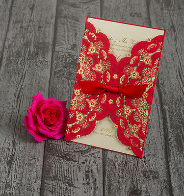 Personalised Red & Gold Lace Laser Cut Asian Chinese Wedding Invitations Invites