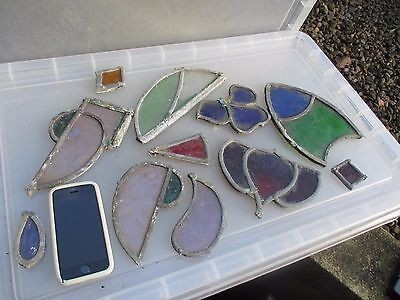 Antique Stained Glass Sections Leaded Architectural Salvage Vintage Job Lot Old