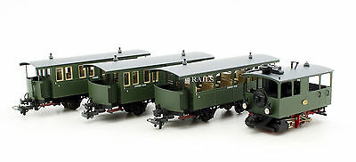 HANDMADE BRASS HOm GAUGE 66-13CH CHIEMSEE BAHN LOCOMOTIVE WITH 3 COACHES (T10)