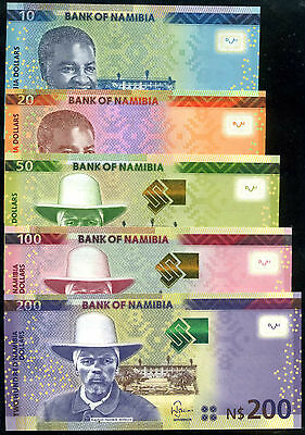 NAMIBIA 10+20+50+100+ 200  DOLLARS 2012-2015  SET 5 PCS  Uncirculated