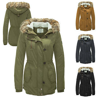 Only Damen Winterjacke Parka Kurzmantel Übergangs & Winter Mantel Kapuzenjacke %