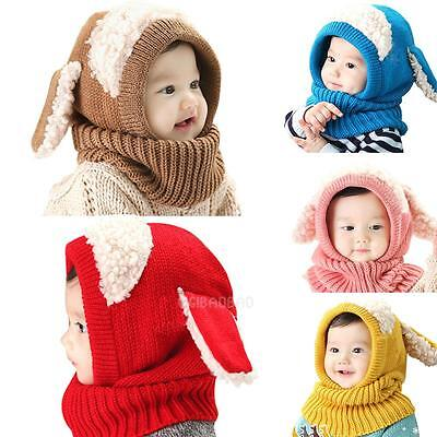 Baby Girl Boy Toddler Winter Beanie Warm Hat Hooded Scarf Earflap Knitted Cap