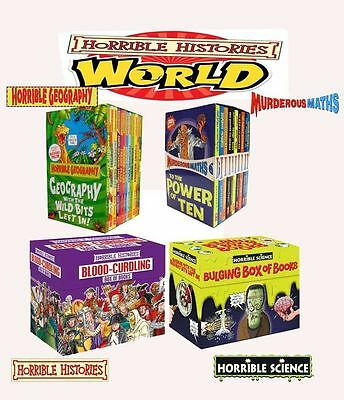 Horrible Histories Science Maths Geography Collection Books Box Set Gift Pack