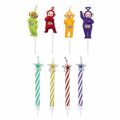 8 Piece Adorable Teletubbies Children's Birthday Party Candles & Picks Set