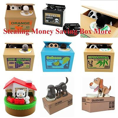 Cute Automatic Stealing Coin Cat Coins Penny Cents Piggy Bank Saving Box Mouse