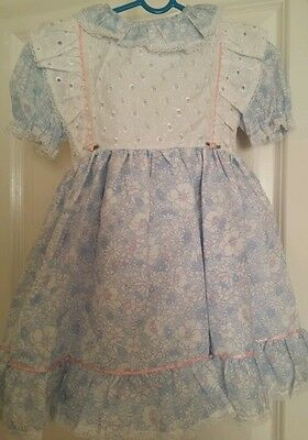 Girl Vintage Dress Floral Light Blue/Pink 70's - New. Made in England -Hand Made