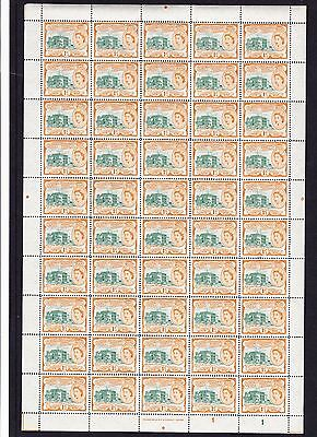 ST KITTS 1954 1c IN COMPLETE SHEET OF 50 SG 107 MNH.