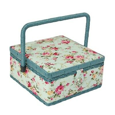 Sky Blue Floral Rose Flowers Small Square Sewing Basket Craft Hobby