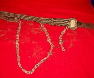 Vintage Masonic Knights Templar Sword Belt with Buckle, Sword Chain &  2 Holders
