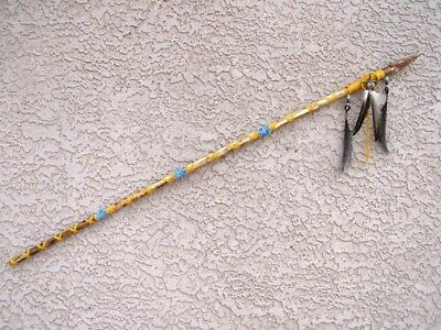 """NATIVE American MADE NAVAJO TRADITIONAL Ceremonial SPEAR with Medicine Wheel 51"""""""