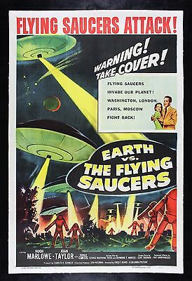 EARTH VS THE FLYING SAUCERS * CineMasterpieces ORIGINAL MOVIE POSTER 1956 LINEN