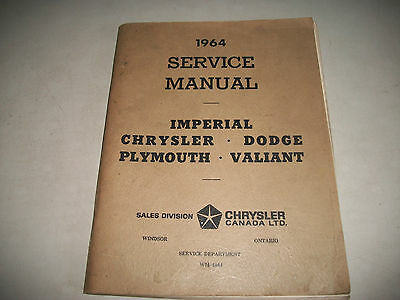 1964 Dodge Chrysler Plymouth Valiant Imperial Service Manual Clean Cmystor4More