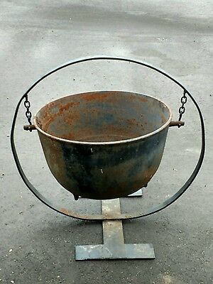 Large Cast Iron Cauldron Garden Planter With Stand / Yard Art