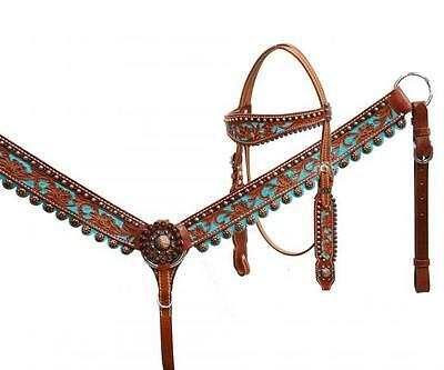 Showman TURQUOISE Hand Painted Headstall and Breast Collar Set! NEW HORSE TACK!