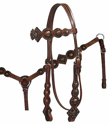 Showman Vintage Style Headstall, Breastcollar And Reins Set! NEW HORSE TACK!