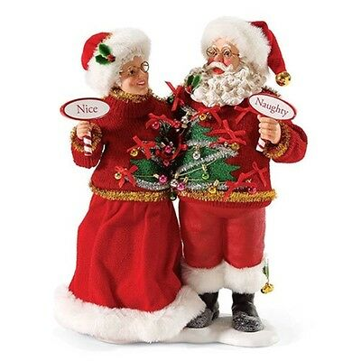 Possible Dreams Mr. and Mrs. Santa Claus Figurine, Sweater Set, New, 4046514