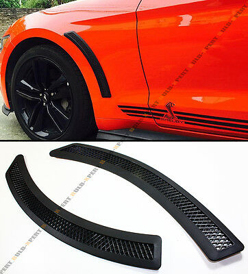Black Mesh Front Fender Side Vent Grill Cover For 2015-2019 Ford Mustang S550 GT