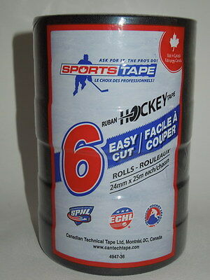 Sports Tape Black Hockey Stick Tape 6 Rolls 24mm x 25m Each