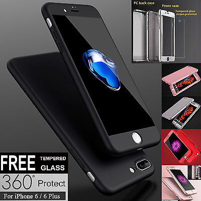 iPhone 7 7 Plus Slim Hybrid Shockproof Hard Case Cover Tempered Glass for Apple