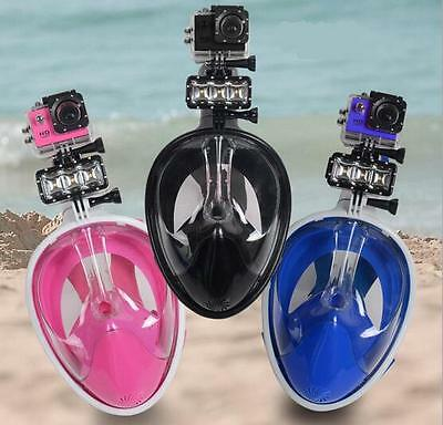Full Face Dry Mask Surface Breath Diving Snorkel Scuba Swimming Goggles Fr GoPro