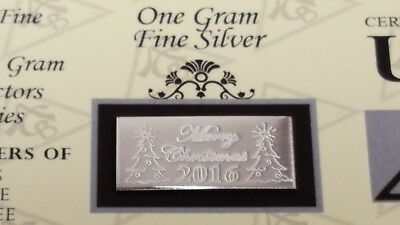 ACB 2019 MERRY CHRISTMAS 1 Gram Bar 999 Fine SILVER with COA Great Gift! $