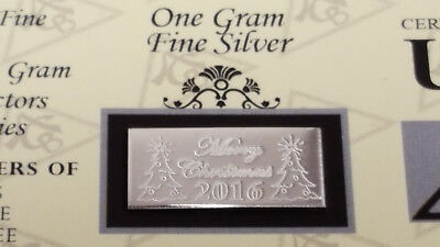 (x20) ACB 2019 MERRY CHRISTMAS 1 Gram Bar 999 Fine SILVER with COA Great Gifts $