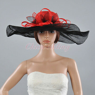 Vintage Red Sinamay Wedding Kentucky Derby Hat Wide Brim Race Church Hat Feather