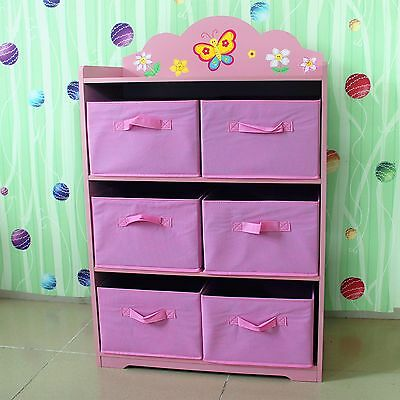 Hand Painted Kid Room Pink Girl Fairy Toy Storage Ogranis Box Bookcase Furniture