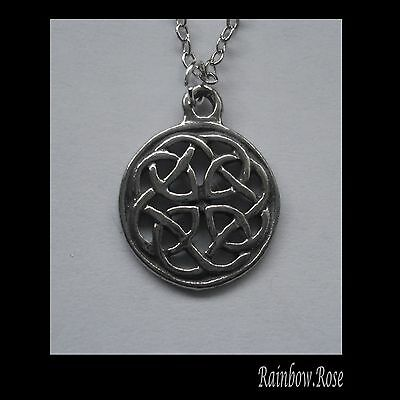 Chain Necklace #2339 Pewter CELTIC KNOT CIRCLE (14mm)