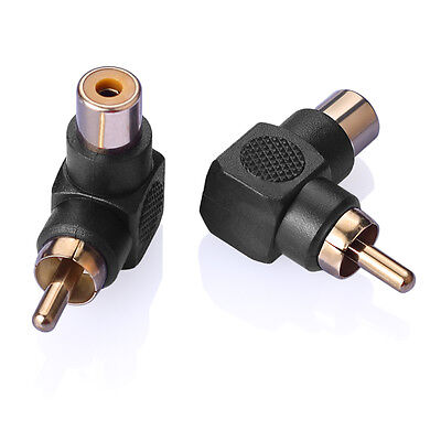 2PK 90 Degree Right Angle RCA Male to Female AV Adapters Cable Connector Plug