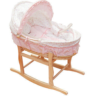 Baby Carrier Moses Basket Bassinet w/ Rocking Stand Cotton waffle pink interior