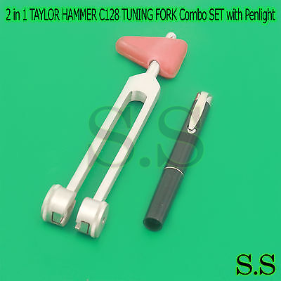 2 in 1 TAYLOR HAMMER C128 TUNING FORK Combo SET with Penlight