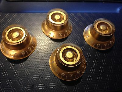 4x BELL SHAPED TOP HAT KNOBS FOR Gibson LP Epiphone GUITAR Gold