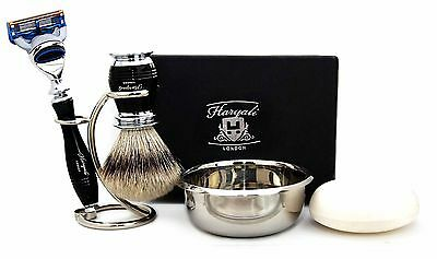 Men's Shaving Set With Sliver Tip Badger Hair Brush, Gillette Fusion & Soap+Bowl